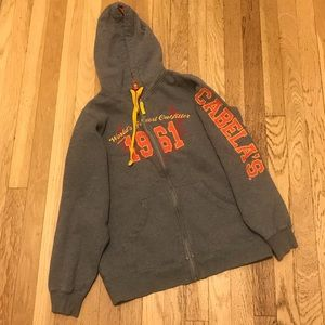 CABELA'S sweater with hoodie & embroidered SZ. M